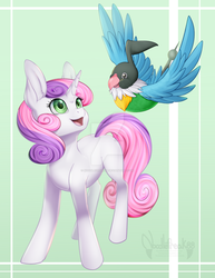 Size: 1024x1325 | Tagged: safe, artist:noodlefreak88, sweetie belle, pony, unicorn, chatot, crossover, female, filly, pokémon, smiling, watermark
