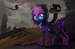 Size: 6562x4320 | Tagged: artist:taneysha, bat pony, clothes, enclave armor, fallout, fallout equestria, gun, male, oc, oc:bitmaker, oc only, safe, solo, wasteland, weapon