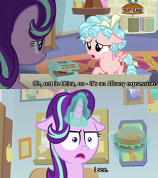 Size: 640x720 | Tagged: burger, caption, cozy glow, crossing the memes, edit, edited screencap, female, filly, floppy ears, food, i mean i see, mare, marks for effort, meme, ponies eating meat, safe, screencap, spoiler:s08e12, starlight glimmer, steamed hams, the simpsons