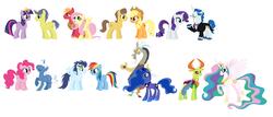 Size: 3528x1508   Tagged: safe, artist:roseprincessmitia, applejack, big macintosh, caramel, comet tail, discord, fancypants, fluttershy, pinkie pie, pokey pierce, princess celestia, princess luna, rainbow dash, rarity, soarin', thorax, twilight sparkle, alicorn, changedling, changeling, carajack, cometlight, female, fluttermac, king thorax, lunacord, male, new crown, pokeypie, raripants, shipping, simple background, soarindash, straight, thoralestia, twilight sparkle (alicorn), white background