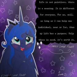 Size: 3500x3500 | Tagged: alicorn, artist:darkest-lunar-flower, blushing, crying, female, mare, motivational, pony, princess luna, safe, smiling, solo, tears of joy