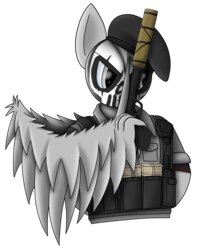 Size: 2050x2600 | Tagged: artist:silver dash, beret, clothes, crossover, face paint, gun, handgun, hat, male, oc, oc:silver dash, pegasus, pistol, pony, rainbow six siege, safe, simple background, stallion, suppressor, transparent background, vest, weapon, wing hands