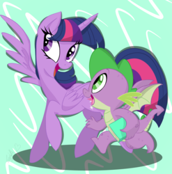 Size: 1000x1014 | Tagged: safe, artist:emositecc, spike, twilight sparkle, alicorn, dragon, pony, abstract background, book, cutie mark, horn, open mouth, smiling, twilight sparkle (alicorn), winged spike, wings