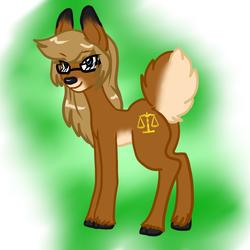 Size: 1198x1200 | Tagged: safe, artist:demonnyuu, artist:marmelmm, oc, oc:willow, deer, deer pony, original species, pony, detective, doe, glasses, ponified, scales of justice, spontoon