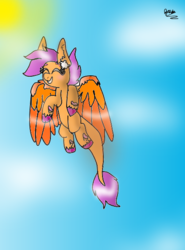 Size: 444x600 | Tagged: safe, scootaloo, alternate artstyle, bare hooves, blank flank, blushing, cloud, flying, happy, sky, sun, winghooves