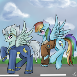 Size: 2830x2830 | Tagged: artist:vinviasshine, blushing, clothes, cloud, cloudy, eyes on the prize, female, fleetdash, fleetfoot, jacket, lesbian, rainbow dash, safe, shipping, teasing, uniform, wonderbolts, wonderbolts academy, wonderbolts uniform