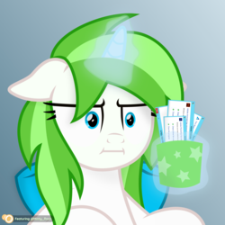 Size: 3208x3208 | Tagged: artist:potato22, artist:potato2292, bowtie, cup, error message, floating, floppy ears, horn, i mean i see, magic, marks for effort, meme, oc, oc:minty root, oc only, safe, simple background, solo, spoiler:s08e12