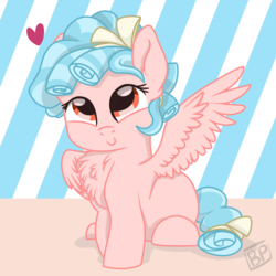 Size: 2000x2000 | Tagged: artist:glitterstar2000, chest fluff, cozybetes, cozy glow, female, filly, fluffy, heart, looking at you, marks for effort, pegasus, pony, safe, smiling, solo