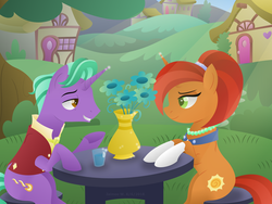 Size: 1024x768 | Tagged: safe, artist:lavenderrain24, firelight, stellar flare, pony, unicorn, the parent map, female, looking at each other, male, mare, shipping, smiling, stallion, stellarlight, straight, table