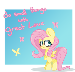 Size: 1500x1439 | Tagged: artist:lou, blushing, butterfly, cute, female, fluttershy, kindness, love, motivational, pegasus, pony, safe, shyabetes, standing