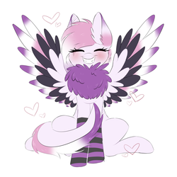 Size: 2000x2000 | Tagged: artist:adostume, blushing, chest fluff, clothes, grin, happy, heart, oc, oc only, pegasus, pony, safe, smiling, socks, solo, striped socks