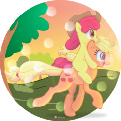 Size: 7723x7737 | Tagged: absurd res, accessory swap, .ai available, apple bloom, applejack, artist:illumnious, artist:kp-shadowsquirrel, cowboy hat, female, hat, open mouth, ponies riding ponies, pony, running, safe, siblings, sisters, stetson, tree, vector