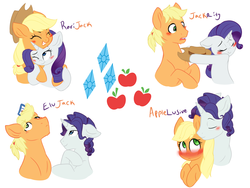 Size: 6000x4500 | Tagged: absurd res, applejack, applejack (male), applelusive, applelusive (straight), artist:chub-wub, cute, elusive, female, gay, half r63 shipping, jackabetes, lesbian, male, raribetes, rarijack, rarijack (straight), rarity, rule 63, safe, shipping, simple background, stallion, straight, white background