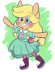 Size: 840x1088 | Tagged: safe, artist:typhwosion, applejack, clothes, cosplay, costume, crossover, star butterfly, star vs the forces of evil