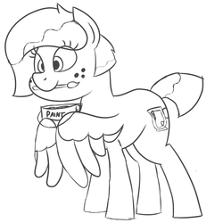 Size: 3000x3000 | Tagged: alternate hairstyle, artist:besttubahorse, cute, freckles, mochabetes, oc, ocbetes, oc only, oc:sweet mocha, paintbrush, paint bucket, pegasus, pony, safe, simple background, sketch, solo, white background, wing hold