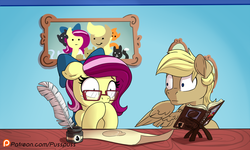 Size: 1200x720 | Tagged: safe, artist:pusspuss, oc, oc only, oc:pink pearl, oc:strike zone, cat, pegasus, pony, comic:pearl's daydream, awkward, book, comic, drool, female, glasses, ink, male, mare, parchment, picture frame, quill, shocked, stallion, surprised