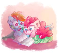 Size: 1033x932 | Tagged: safe, artist:pinkablue, pinkie pie, rainbow dash, earth pony, pegasus, pony, book, cute, dashabetes, diapinkes, ear fluff, female, lesbian, mare, open mouth, pinkiedash, reading, shipping, smiling