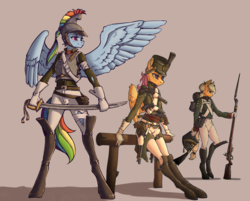 Size: 1984x1598 | Tagged: anthro, applejack, artist:madhotaru, bayonet, boots, clothes, cuirassiers, earth pony, empire period, female, fence, flintlock, gloves, gun, handgun, hat, leaning, mare, military, military uniform, musket, napoleonic wars, older, older scootaloo, pegasus, pistol, rainbow dash, rifle, russian, saber, safe, scootaloo, shoes, simple background, soldier, spread wings, sword, tan background, trio, unguligrade anthro, uniform, weapon, wings