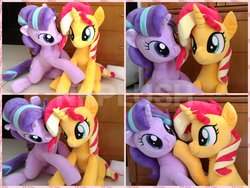 Size: 1200x900   Tagged: safe, artist:nekokevin, starlight glimmer, sunset shimmer, unicorn, series:nekokevin's glimmy, chewing, cute, duo, eating, female, glimmerbetes, grabbing, irl, looking at each other, mare, photo, plushie, pointing, raised hoof, shimmerbetes, sitting, smiling, watermark