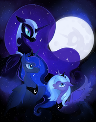 Size: 759x966 | Tagged: safe, artist:artghst, nightmare moon, princess luna, alicorn, pony, female, helmet, lunar trinity, mare, mare in the moon, moon, multeity, s1 luna, smiling, three luna moon, three wolf moon, trio