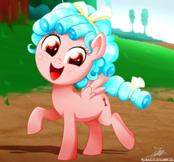 Size: 1871x1742 | Tagged: artist:the-butch-x, cozybetes, cozy glow, cute, female, filly, freckles, good girl, marks for effort, pegasus, pony, raised hoof, safe, signature, smiling, solo