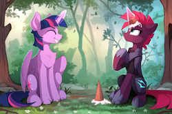 Size: 910x607 | Tagged: safe, artist:yakovlev-vad, edit, editor:gutovi, fizzlepop berrytwist, tempest shadow, twilight sparkle, alicorn, pony, unicorn, my little pony: the movie, art, broken horn, chest fluff, cute, daaaaaaaaaaaw, dropped ice cream, duo, female, food, forest, glowing horn, grin, ice cream, ice cream cone, ice cream horn, magic, mare, smiling, sweet dreams fuel, telekinesis, tempest gets her horn back, tempestbetes, tree, twiabetes, twilight sparkle (alicorn)