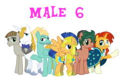 Size: 2923x1849 | Tagged: alternate mane six, artist:19crowbar19, artist:chainchomp2 edit, artist:cheezedoodle96, artist:faithfulandstrong, artist:j-pinkie, artist:saukapie, editor:jdueler11, equestria girls ponified, flash sentry, male, male six, mudbriar, ponified, pony, prince blueblood, pun, safe, simple background, stallion, sunburst, timber spruce, transparent background, vector, zephyr breeze