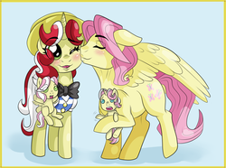 Size: 1346x1000 | Tagged: artist needed, safe, flim, fluttershy, oc, oc:clover wing, oc:lucky star, pegasus, pony, unicorn, baby, baby pony, butterscotch, buttershim, family, female, flimshy, foal, kiss on the cheek, kissing, male, offspring, parent:butterscotch, parent:shim, r63 shipping, rule 63, shim, shipping, straight, twins