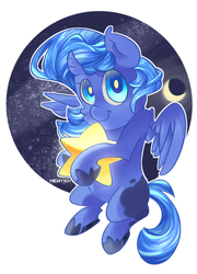Size: 900x1250 | Tagged: artist:mewy101, female, filly, moon, princess luna, safe, solo, space, stars, tangible heavenly object