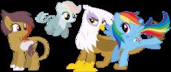 Size: 1066x446 | Tagged: safe, artist:margaretlovez, gilda, rainbow dash, griffon, hippogriff, family, female, gildash, interspecies, interspecies offspring, lesbian, magical lesbian spawn, offspring, parent:gilda, parent:rainbow dash, parents:gildash, shipping, simple background, transparent background