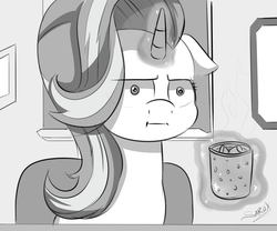 Size: 3000x2500 | Tagged: artist:alesarox, chocolate, cup, empathy cocoa, female, food, glow, grayscale, hot chocolate, :i, i mean i see, levitation, magic, marks for effort, monochrome, safe, scene interpretation, solo, spoiler:s08e12, starlight glimmer, telekinesis