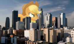 Size: 1755x1051 | Tagged: safe, artist:flutterbatismagic, applejack, pony, angry, california, destruction, female, giant pony, giantess, highrise ponies, imminent doom, irl, los angeles, macro, macro/micro, photo, photography, photomanipulation, ponies in real life, vector, what has science done