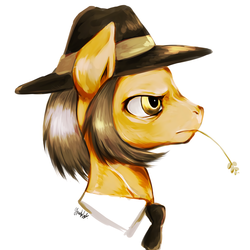 Size: 1200x1200 | Tagged: safe, artist:grimbloody, igneous rock pie, bust, food, male, portrait, profile, sideburns, solo, stallion, straw in mouth, wheat