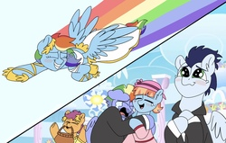 Size: 1849x1176 | Tagged: safe, artist:pastel-charms, bow hothoof, rainbow dash, scootaloo, soarin', windy whistles, pony, clothes, crying, dress, female, flying, liquid pride, male, marriage, rainbow trail, shipping, soarindash, straight, suit, tears of joy, wedding, wedding dress