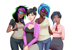 Size: 1280x892 | Tagged: safe, artist:emberfan11, dj pon-3, octavia melody, vinyl scratch, oc, oc:nuance harmoney, oc:sawtooth vibe, human, icey-verse, alternate hairstyle, bowtie, bra, breasts, cardigan, clothes, commission, dark skin, ear piercing, earring, family, female, glasses, hair bun, headphones, humanized, jacket, jeans, jewelry, leather jacket, lesbian, lidded eyes, lipstick, magical lesbian spawn, next generation, offfspring, offspring, pants, parent:octavia melody, parent:vinyl scratch, parents:scratchtavia, piercing, ring, scratchtavia, shipping, shirt, simple background, skirt, t-shirt, tanktop, underwear, watch, wedding ring, white background