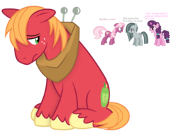 Size: 960x720   Tagged: safe, big macintosh, cheerilee, marble pie, sugar belle, argument, big macintosh gets all the mares, female, male, shipping war, simple background, straight, transparent background, typing error