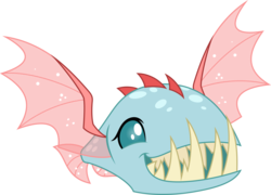 Size: 5000x3598 | Tagged: safe, artist:dashiesparkle, ocellus, biteacuda, fish, non-compete clause, .svg available, absurd resolution, disguise, disguised changeling, fangs, female, sharp teeth, simple background, smiling, solo, spread wings, teeth, transparent background, vector, wings