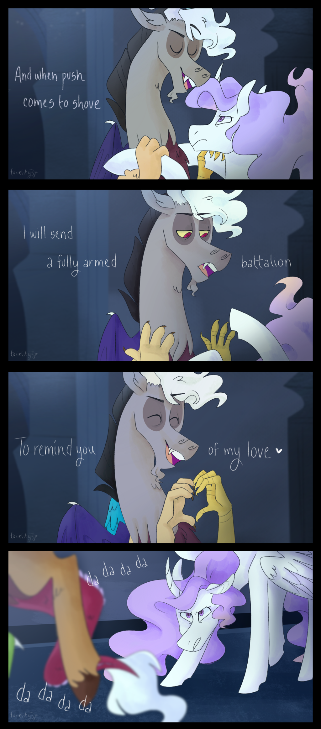 Discord Celestia Comic 1753997 - alicorn, angry, artist:torielity, celestia is not