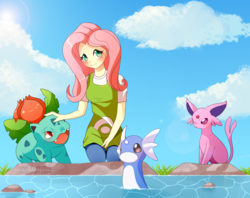 Size: 1024x813 | Tagged: artist:seviyummy, clothes, cloud, dratini, equestria girls, espeon, female, fluttershy, ivysaur, looking at you, pokémon, safe, water