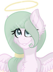 Size: 1024x1399 | Tagged: safe, artist:mintoria, oc, pegasus, pony, female, halo, mare, simple background, solo, transparent background