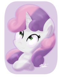 Size: 1280x1611 | Tagged: artist:vaetan, bust, female, filly, looking up, pony, safe, simple background, smiling, solo, sweetie belle, transparent background, unicorn