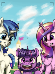Size: 2800x3700 | Tagged: alicorn, artist:silverhopexiii, brother and sister, camera shot, female, filly, happy, male, mare, photobomb, princess cadance, safe, shining armor, smiling, stallion, twilight sparkle, unicorn, younger
