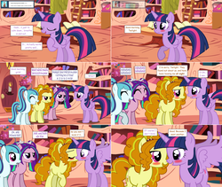 Size: 2564x2168 | Tagged: safe, artist:hakunohamikage, adagio dazzle, aria blaze, sonata dusk, twilight sparkle, alicorn, pony, ask-princesssparkle, adagilight, blushing, female, golden oaks library, high res, kissing, lesbian, ponified, shipping, twilight sparkle (alicorn)