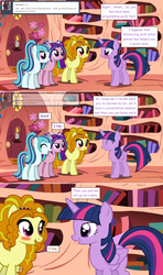 Size: 1280x2168 | Tagged: safe, artist:hakunohamikage, adagio dazzle, aria blaze, sonata dusk, twilight sparkle, alicorn, pony, ask-princesssparkle, adagilight, blushing, female, golden oaks library, lesbian, ponified, shipping, twilight sparkle (alicorn)