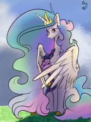 Size: 2983x3990 | Tagged: safe, artist:greyscaleart, princess celestia, twilight sparkle, alicorn, pony, unicorn, the tiny apprentice, chest fluff, colored hooves, cradling, cute, cutelestia, eyes closed, female, filly, filly twilight sparkle, greyscaleart is trying to murder us, high res, hug, looking at you, mare, momlestia, sleeping, smol, twiabetes, unicorn twilight, winghug, younger
