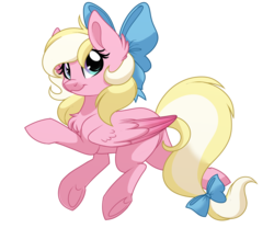 Size: 1200x1000 | Tagged: safe, artist:itstaylor-made, derpibooru exclusive, oc, oc only, oc:bay breeze, pegasus, pony, bow, chest fluff, cute, female, hair bow, mare, simple background, tail bow, transparent background, underhoof