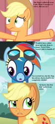 Size: 840x1890 | Tagged: applejack, applejack's hat, barn, clothes, cloud, cowboy hat, cropped, edit, edited screencap, goggles, hat, implied apple bloom, implied babs, implied cmc, implied gabby, implied scootaloo, implied sweetie belle, newbie dash, pinkie pride, rainbow dash, safe, screencap, simple ways, story of the blanks, this will end in tears and/or death and/or covered in tree sap, uniform, wonderbolts uniform, worried