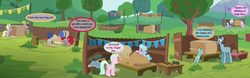 Size: 1168x365 | Tagged: apple tree, construction, crackle pop, crimson skate, cropped, derpy hooves, diamond tiara, edit, edited screencap, kart, pennant, randolph, safe, screencap, snips, snips' dad, speech bubble, sugar stix, tender brush, text, the cart before the ponies, train tracks (character), tree, winter lotus