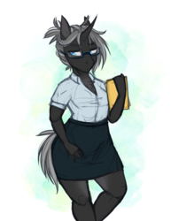 Size: 2550x3300 | Tagged: safe, artist:askbubblelee, oc, oc only, oc:imago, pony, unicorn, anthro, adorasexy, anthro oc, beautiful, breasts, business suit, businessmare, chest fluff, clothes, curved horn, cute, ear fluff, female, folder, glasses, grey hair, horn, lidded eyes, looking away, mare, ocbetes, ponified, ponytail, sexy, shirt, simple background, skirt, solo, species swap, sweat, unicornified