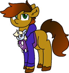 Size: 414x437 | Tagged: safe, artist:nootaz, oc, oc only, oc:nootaz, oc:twitchyylive, pony, clothes, female, filly, hoodie, male, simple background, stallion, transparent background